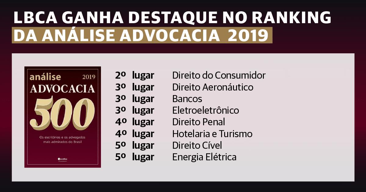 LBCA ganha destaque no ranking da Análise Advocacia 2019