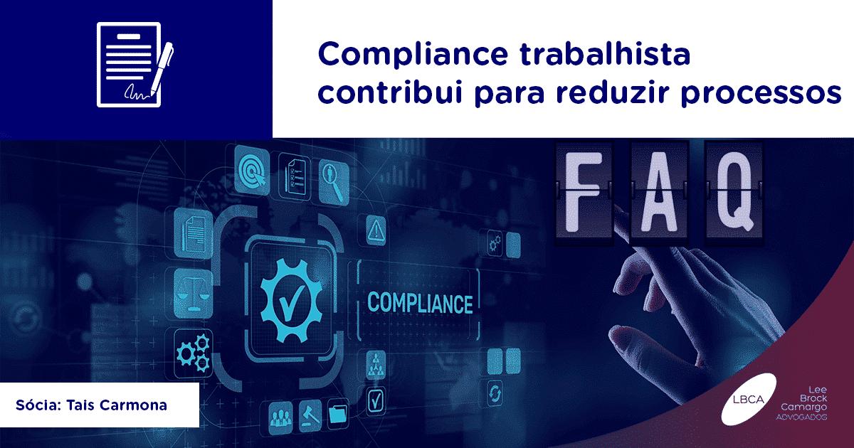 Compliance trabalhista contribui para reduzir processos